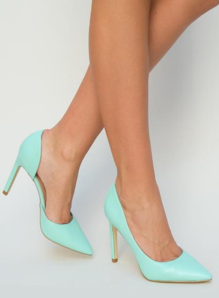 Wow Pantofi Stiletto Turcoaz Cu Tinte Trebuie Sa I Vezi