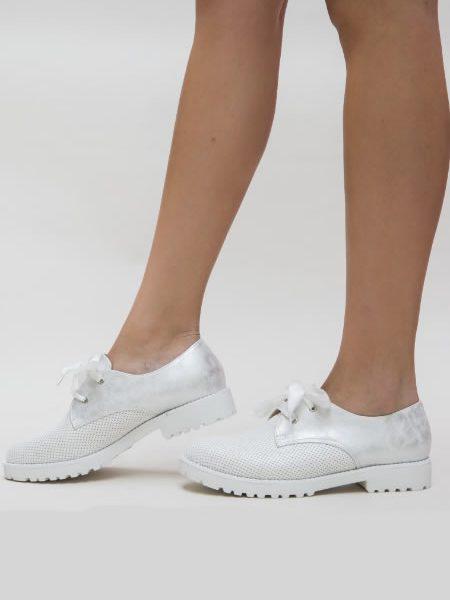 Pantofi Tip Oxford Dama Argintii