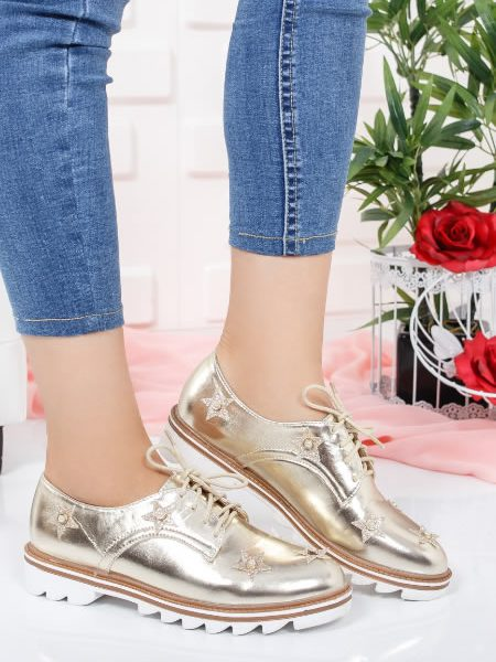 Pantofi Tip Oxford Ieftini Aurii