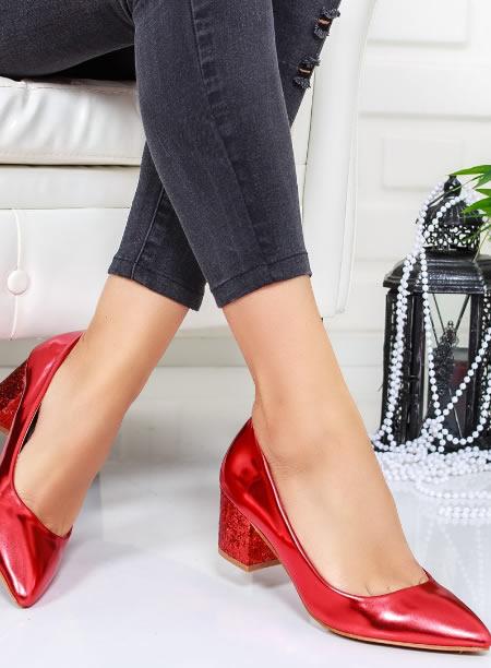 Pantofi Toc Jos Cu Paiete Rosii