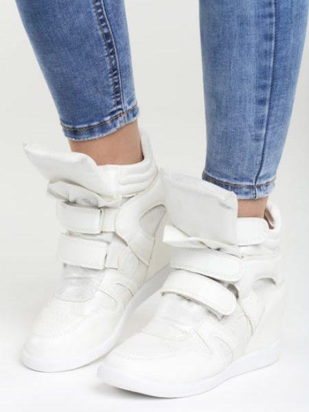 Sneakers Dama Cu Platforma Ascunsa Albi