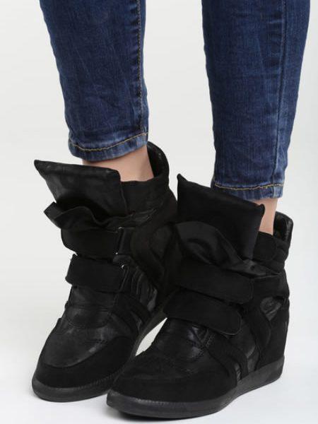 Sneakers Dama Cu Platforma Ascunsa Negri