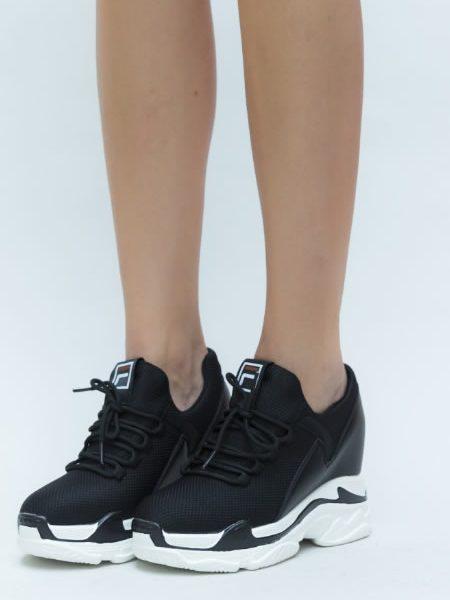 Sneakers Dama Cu Talpa Ortopedica Negri