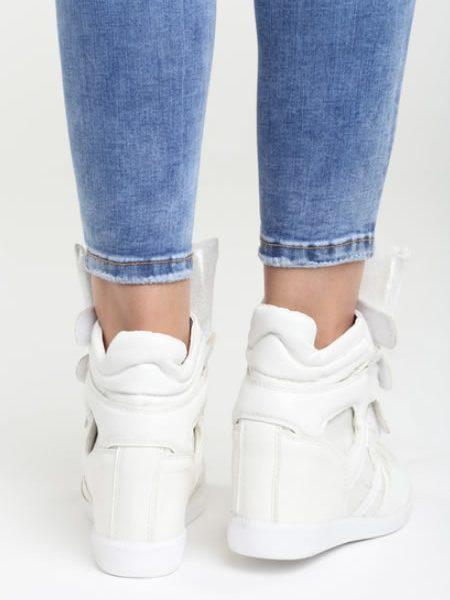 Sneakersi Albi De Dama Cu Platforma