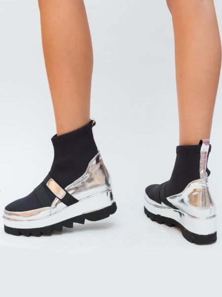 Sneakersi Ciorap Argintii