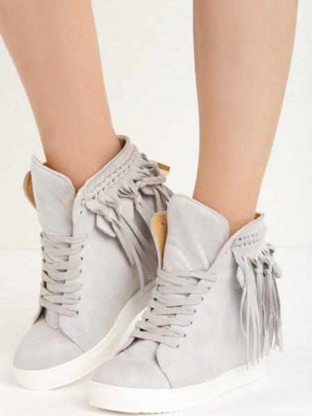 Sneakersi Dama Cu Franjuri Gri