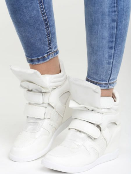 Sneakersi De Dama Cu Platforma Albi