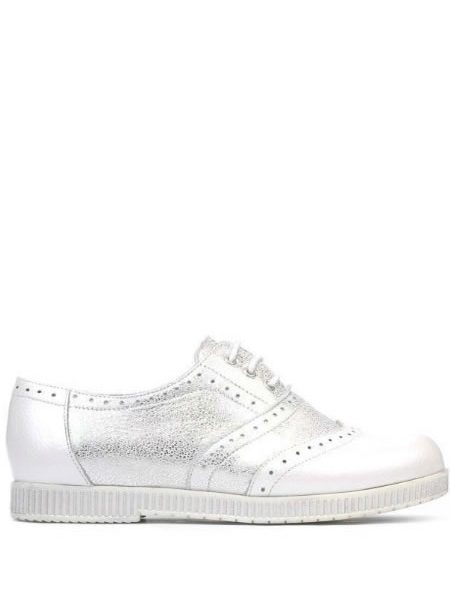 Pantofi Oxford Argintii Din Piele Naturala