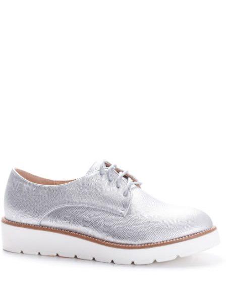 Pantofi Oxford Cu Talpa Inalta Argintii