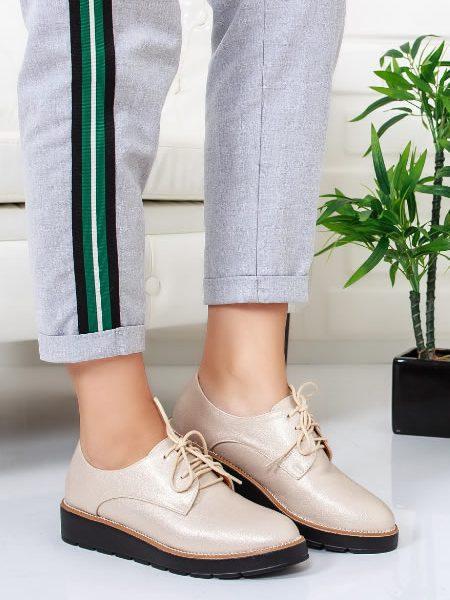 Pantofi Oxford Cu Talpa Joasa Bej