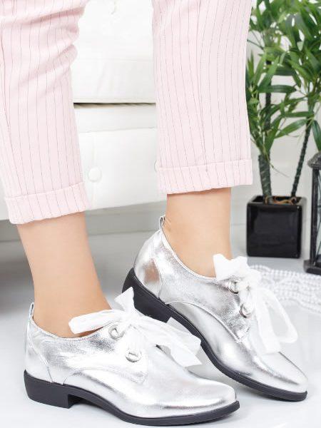 Pantofi Oxford Dama Argintii