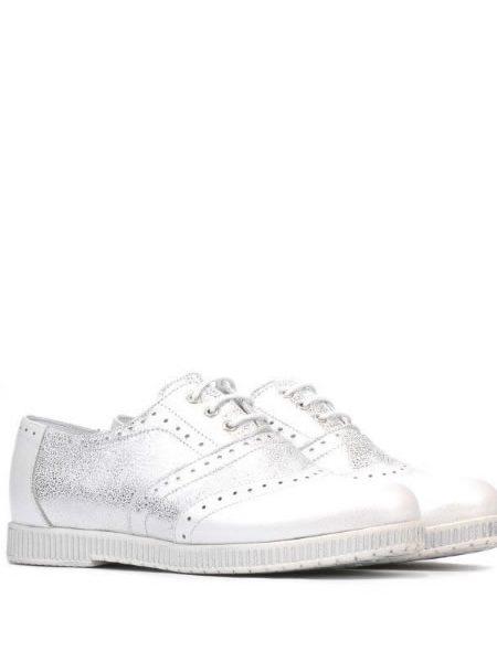 Pantofi Oxford Dama Argintii Din Piele