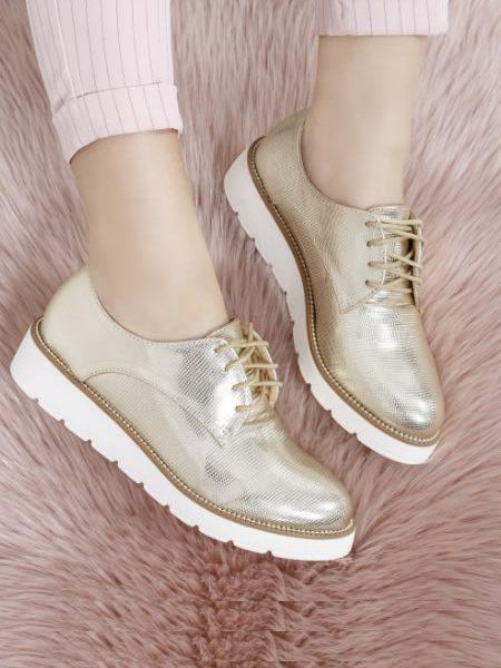 Pantofi Oxford Dama Aurii