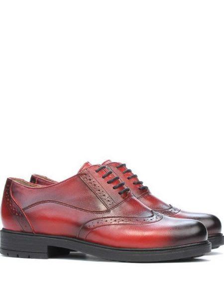 Pantofi Oxford De Dama Rosii Din Piele Naturala Ieftini