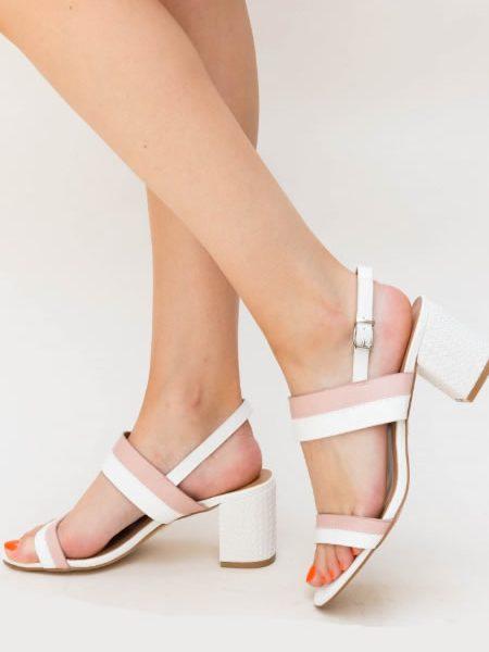 Sandale Albe Cu Toc Mai Mic