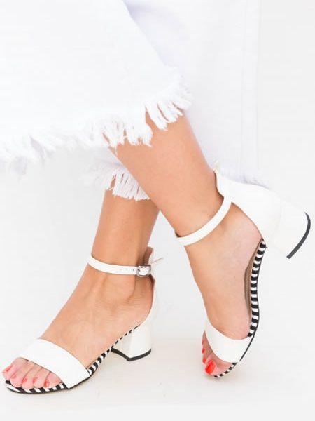 Sandale Albe Dama Cu Toc Foarte Mic