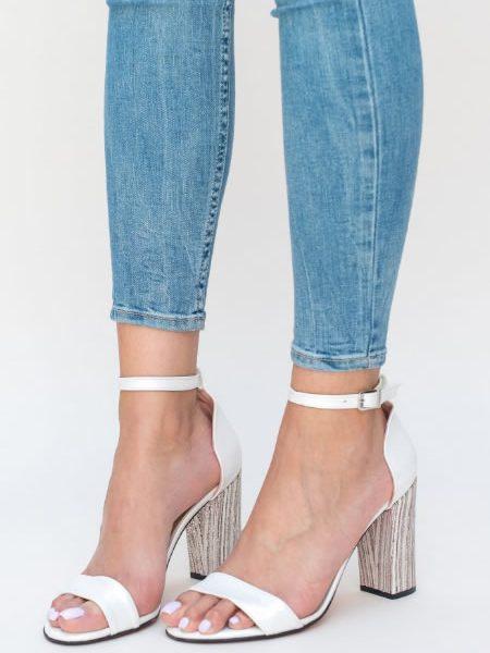 Sandale Albe De Zi Cu Toc Gros