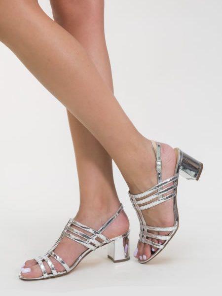 Sandale Argintii Cu Toc Mediu Gros