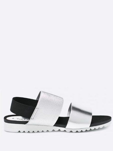 Sandale Argintii Din Piele Fara Toc