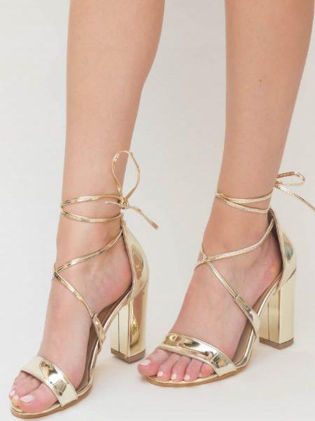 Sandale Aurii Cu Toc Gros Inalt