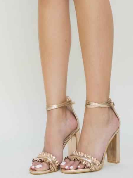 Sandale Aurii Elegante Cu Toc Gros