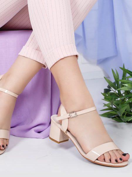 Sandale Bej Cu Toc 6 Cm