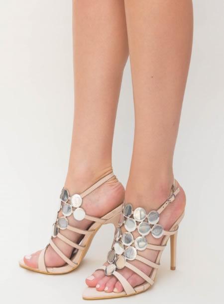 Sandale elegante cu toc cui si snur pe picior, pline, cu