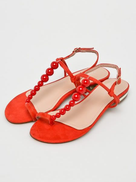 Sandale Cu Margele Rosii