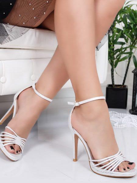 Sandale Cu Toc Cui Albe