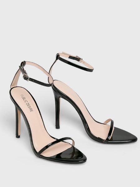 Sandale Cu Toc Cui Si Bareta Subtire Negre