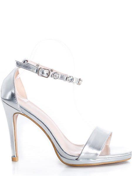 Sandale Cu Toc Elegante Argintii
