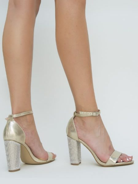 Sandale Cu Toc Gros Aurii Cu Piere