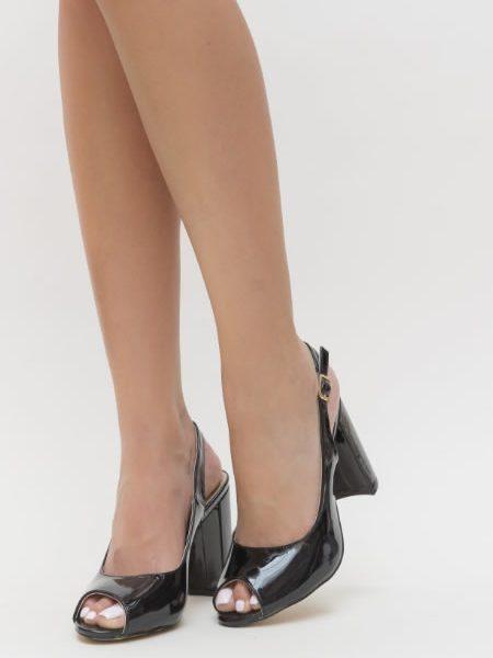 Sandale Cu Toc Gros Decupate In Fata