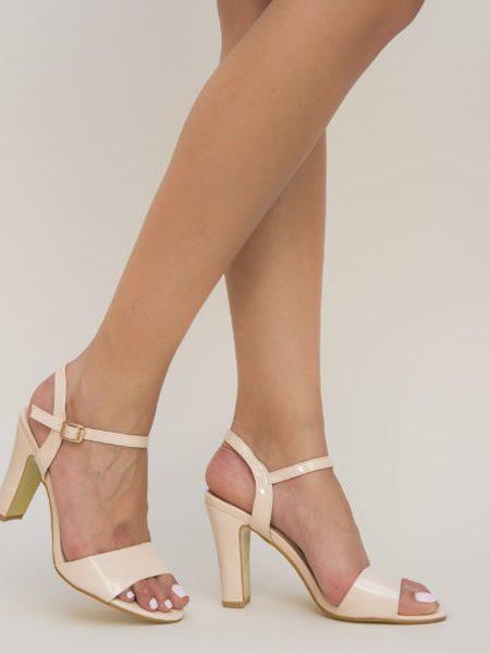 Sandale Cu Toc Gros Ieftine Nude