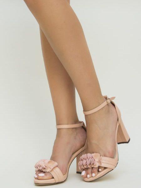 Sandale Cu Toc Gros Inalt Roz