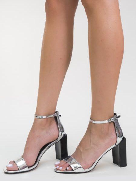 Sandale Cu Toc Gros Moderne Argintii