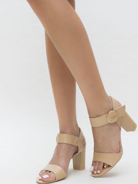Sandale Cu Toc Gros Online Bej