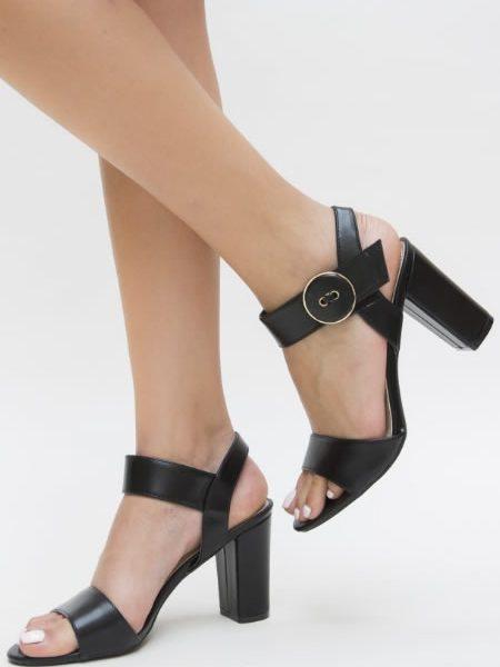 Sandale Cu Toc Gros Online Negre
