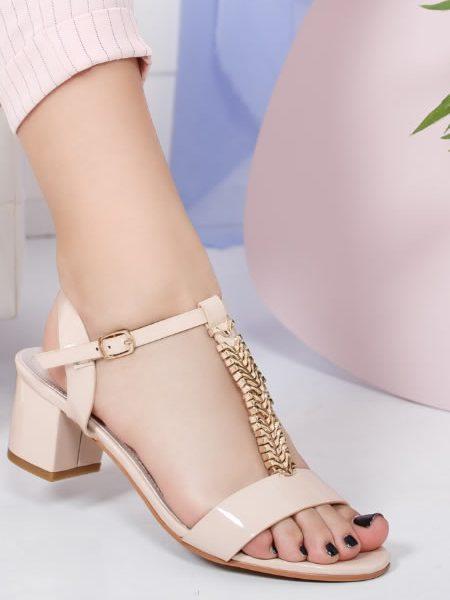 Sandale Cu Toc Mic De Seara Bej