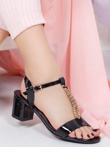 Sandale Cu Toc Mic De Seara Negre