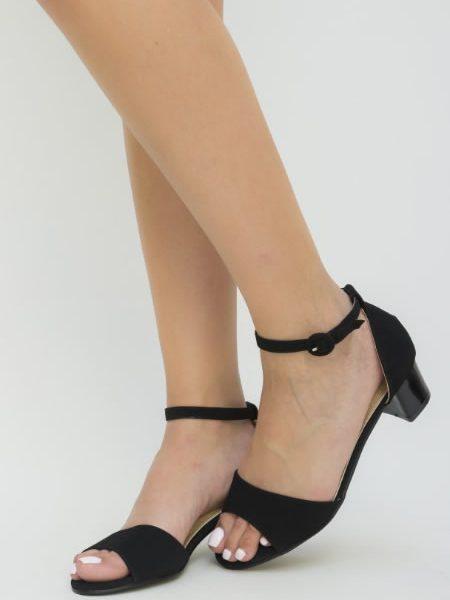 Sandale Cu Toc Mic Din Imitatie De Piele Intoarsa