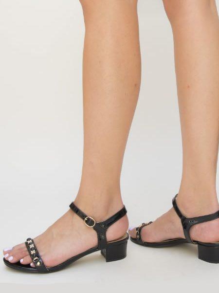 Sandale Cu Toc Mic Negre De Seara