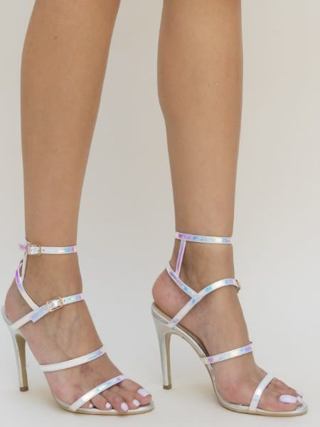 Sandale Cu Toc Si Barete Fine Argintii
