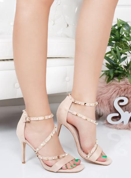 Sandale elegante cu toc cui si varf ascutit. Roz, bej si negre