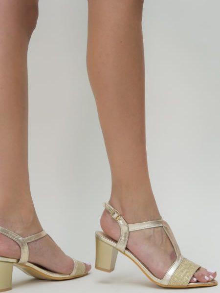 Sandale Dama Aurii Cu Toc Mediu Online