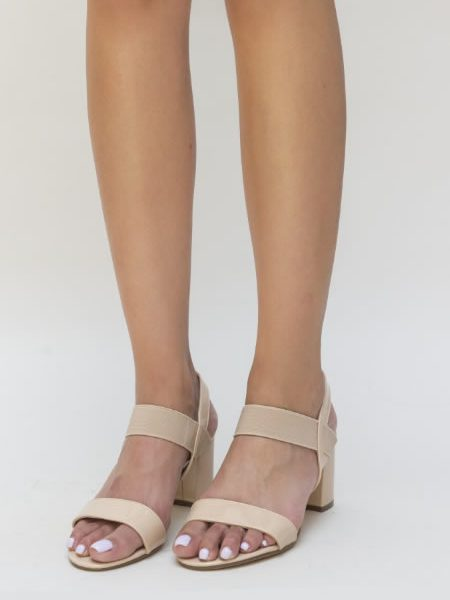 Sandale Dama Bej Cu Toc Mediu