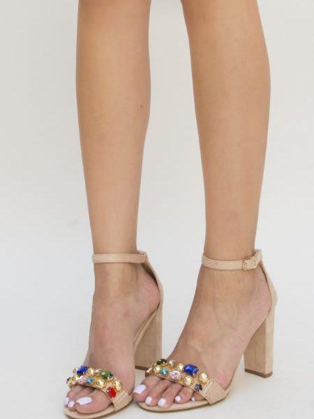 Sandale Dama Cu Toc Gros Bej