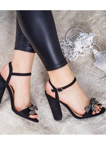 Sandale Dama Cu Toc Gros De Seara Negre