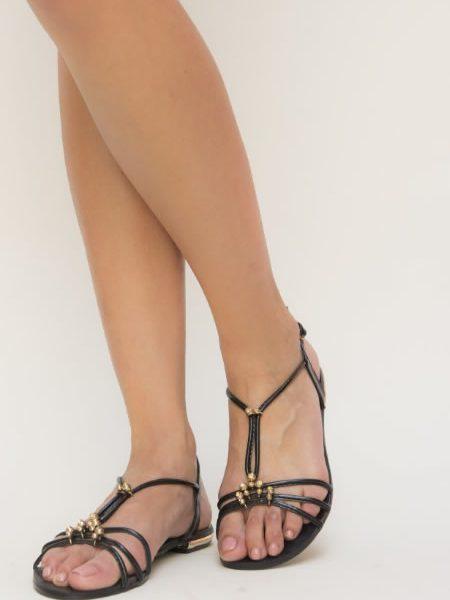 Sandale Dama Fara Toc Elegante Negre