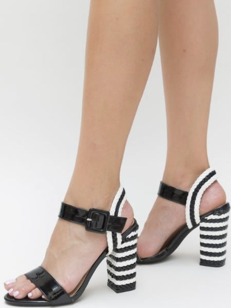 Sandale De Dama Cu Toc Gros Impletit